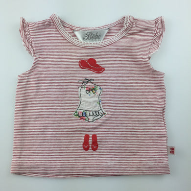 Girls Bebe by Minihaha, red & white stripe t-shirt / top, summer outfit, GUC, size 000