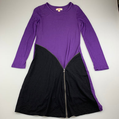 Girls Gum, purple soft stretchy long sleeve dress, L: 83cm, EUC, size 14