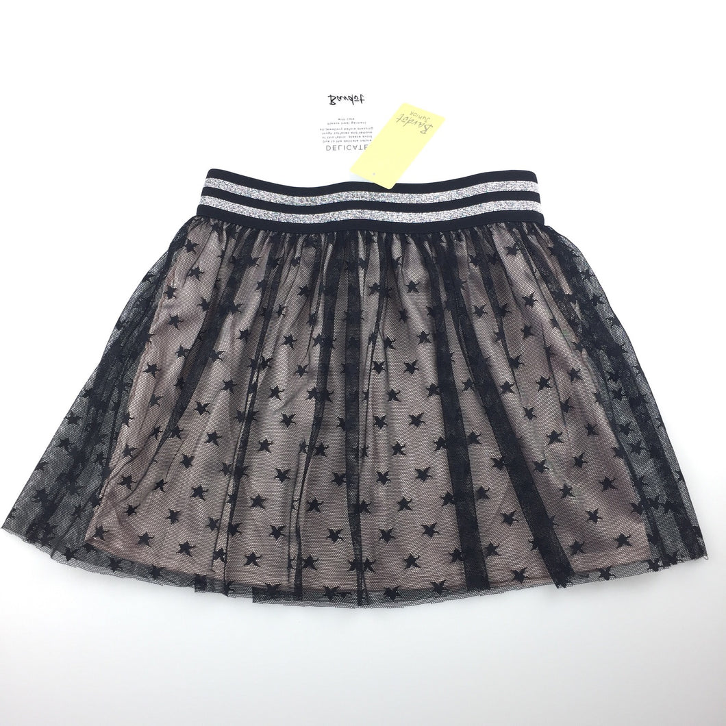 Girls Bardot Junior, black tulle star print party skirt, NEW, size 6