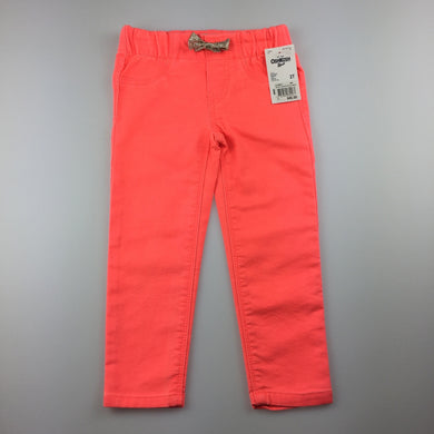 Girls Osh Kosh, orange stretch jeggings / jean leggings, elasticated, NEW, size 2