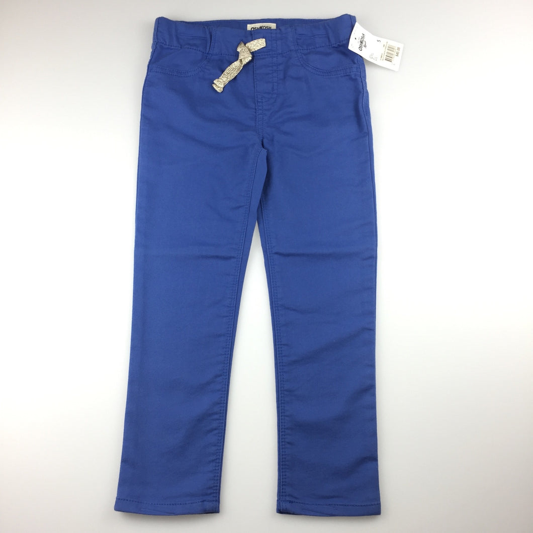 Girls Osh Kosh, blue stretch jeggings / jean leggings, elasticated, NEW, size 5