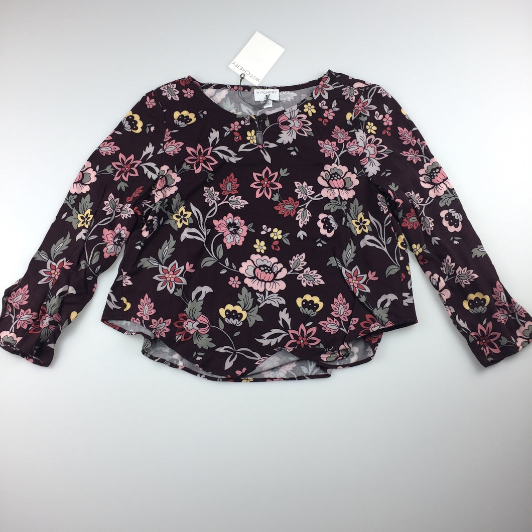 Girls Witchery, long sleeve frill back blouse / top, floral print, NEW, size 5
