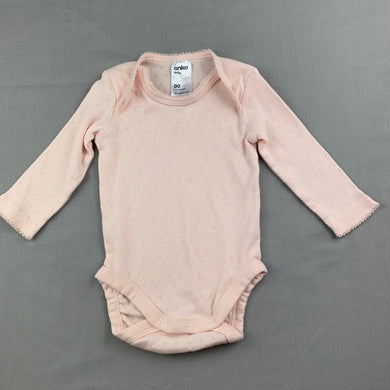 Girls Anko Baby, pink cotton long sleeve bodysuit / romper, EUC, size 00