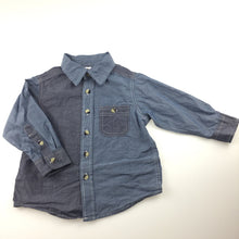 Load image into Gallery viewer, Boys H&T, blue cotton long sleeve shirt, GUC, size 2