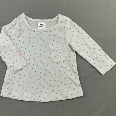 Girls Anko Baby, white cotton long sleeve t-shirt / top, hearts, EUC, size 000