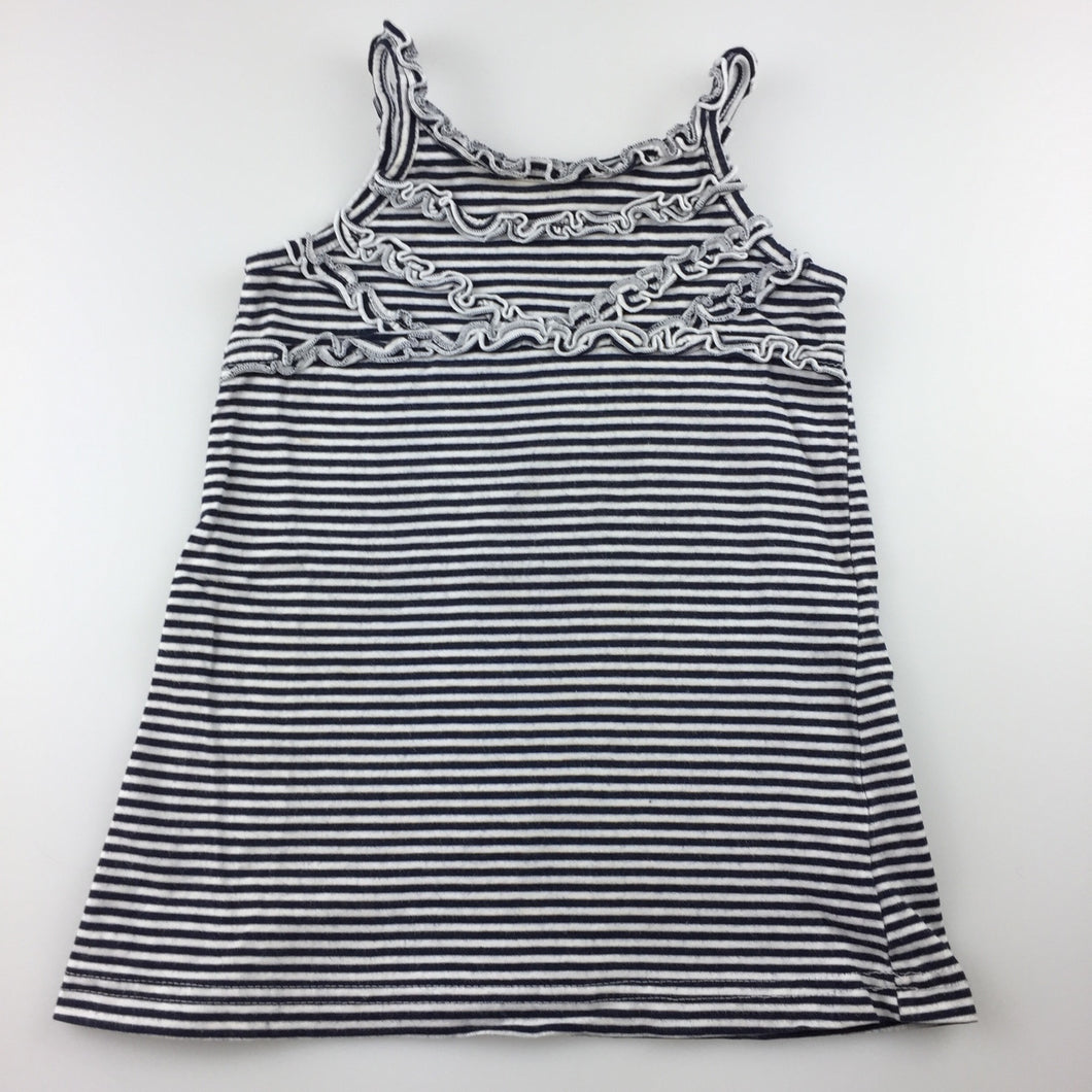 Girls Sprout, navy and white striped cotton sleeveless dress, GUC, size 1