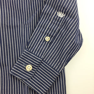 Boys Industrie, blue & white striped long sleeve cotton shirt, EUC, size 2