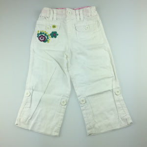 Girls M&S Autograph, linen / cotton blend pants with adjustable waist, GUC, size 2