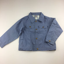 Load image into Gallery viewer, Boys Baby Lamb, blue lightweight cotton jacket, popper fastening , GUC, size 6