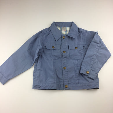 Boys Baby Lamb, blue lightweight cotton jacket, popper fastening , GUC, size 6