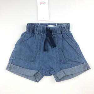 Girls Seed, chambray cotton shorts with elasticated waist, NEW, size 000