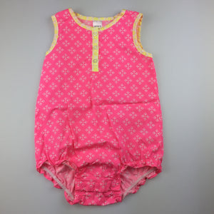 Girls Carter's, pink, white & yellow cotton romper / playsuit, EUC, size 18 months