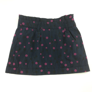 Girls Okaidi, navy, pink spot lined skirt, adjustable waist, GUC, size 4