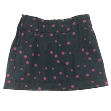Load image into Gallery viewer, Girls Okaidi, navy, pink spot lined skirt, adjustable waist, GUC, size 4