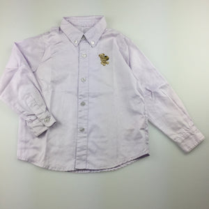 Girls Nicholas & Bears, lilac long sleeve shirt / blouse with embroidered bear, EUC, size 3