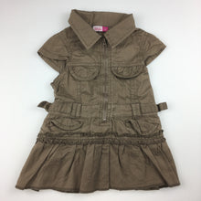 Load image into Gallery viewer, Girls hundreds + thousands, brown cotton shirt / dress, zip up, GUC, size 00