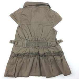 Girls hundreds + thousands, brown cotton shirt / dress, zip up, GUC, size 00