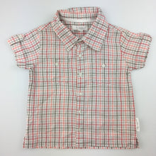 Load image into Gallery viewer, Boys purebaby, organic cotton check shirt, short sleeve, GUC, size 0
