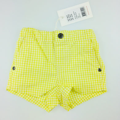Girls Seed, yellow gingham shorts, cotton. These shorts comes in a structured style for a crisp finish. <p>With an elasticised waist and sweet gingham pattern, the bright shade is perfect for the warmer months.<p> Made from 100% cotton., NEW, size 000