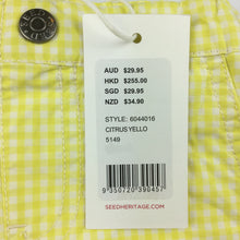 Load image into Gallery viewer, Girls Seed, yellow gingham shorts, cotton. These shorts comes in a structured style for a crisp finish. <p>With an elasticised waist and sweet gingham pattern, the bright shade is perfect for the warmer months.<p> Made from 100% cotton., NEW, size 00