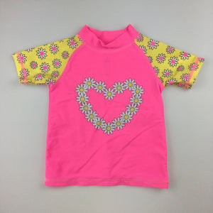 Girls H&T, rashie / swim top, pink, heart / flower print, EUC, size 1