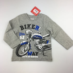 Boys Ollie's Place, long sleeve t-shirt with motorbike print, 100% cotton, NEW, size 1