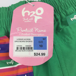 Girls Target, H2O licenced board shorts, elasticated waist, NEW, size 10