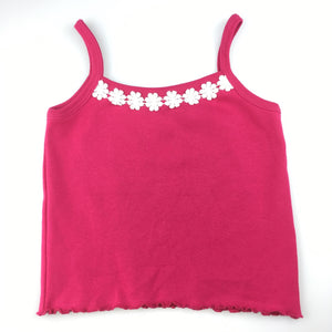 Girls unbranded, hot pink singlet top / t-shirt, white flower trim, EUC, size 6