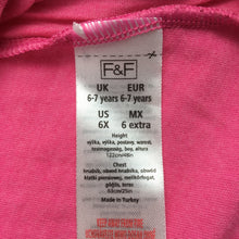 Load image into Gallery viewer, Girls F&F, pink, soft feel party top / t-shirt, flower detail, EUC, size 6-7