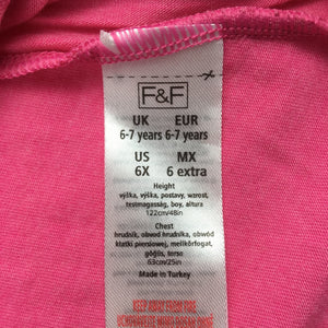 Girls F&F, pink, soft feel party top / t-shirt, flower detail, EUC, size 6-7