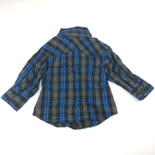 Load image into Gallery viewer, Boys H&T, black / blue cotton long sleeve check shirt, GUC, size 1