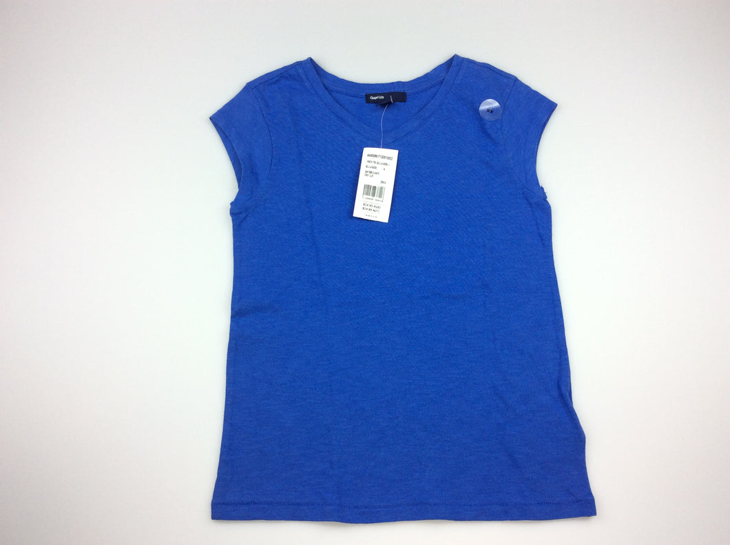 Girls Gap Kids, blue cap sleeve t-shirt / top, 100% cotton, NEW, size 4-5