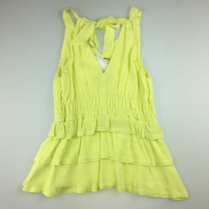 Girls witchery, yellowtiered layer sleeveless blouse top, NEW, size 8