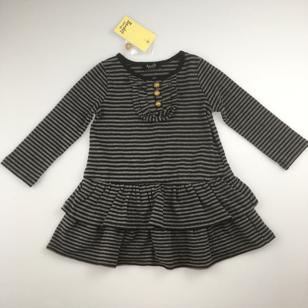 Girls Bardot Junior, long sleeve cotton blend dress, tier skirt, NEW, size 1