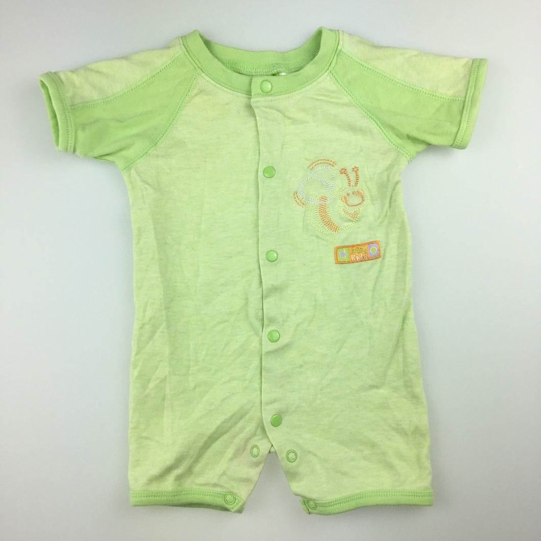 Unisex babykids, green cotton romper / playsuit, FUC, size 000