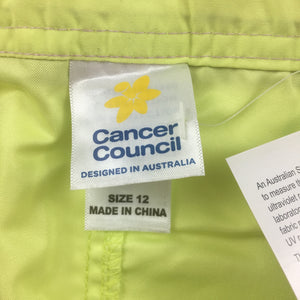 Girls Cancer Council, lime board shorts, UPF 50+, chlorine resistant, NEW, size 12