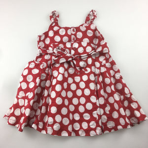 Girls Sprout, lined cotton party dress, red & white spots, GUC, size 1