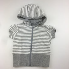 Load image into Gallery viewer, Girls Target, grey & white stripe short sleeve hoodie zip-up top, GUC, size 1