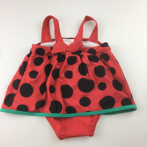 Girls Sprout, one piece ladybird print swimming costume, GUC, size 1