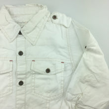 Load image into Gallery viewer, Boys Charlie & Me, white cotton shirt with button roll-tab sleeve, GUC, size 4