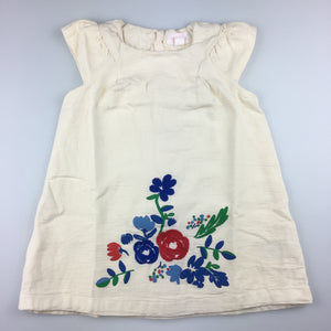 Girls Pumpkin Patch, lined cotton party dress, embroidered flowers, EUC, size 1
