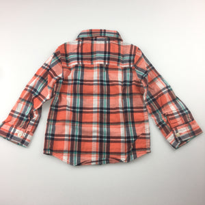 Boys Carter's, long sleeve check shirt with embroidered elephant on pocket, EUC, size 18 months