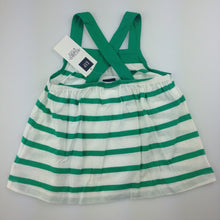 Load image into Gallery viewer, Girls Baby Gap, green and white striped tank with cross-over straps, NEW, size 3