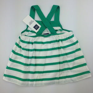 Girls Baby Gap, green and white striped tank with cross-over straps, NEW, size 3