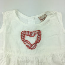 Load image into Gallery viewer, Girls Piccolina Australia, white cotton dress with red trim and heart details, GUC, size 1