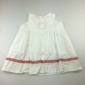 Girls Piccolina Australia, white cotton dress with red trim and heart details, GUC, size 1