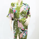 Women's Kimono Silk Satin Bath Wrap Robe - Peacock & Blossom Design, Short