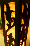 Champaka Bamboo Carved Wood Art Electric Lantern Lights Table Lamp