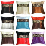 SILK VINTAGE DECORATIVE THROW PILLOW CASE THAI ELEPHANT SILK 16x16 CUSHION COVER