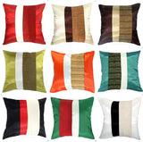 Silk Home Decorative Throw Accent Pillow Cover for Couch Sofa Bed - Double Layers Stripes Design